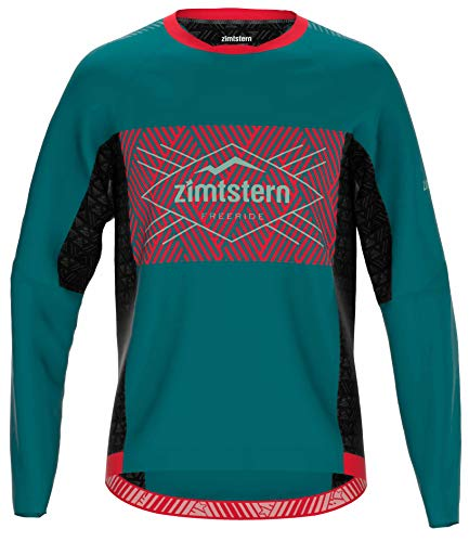 Zimtstern Herren TechZonez Shirt LS MTB, Pacific Green/Cyber Red/Granite Green, S