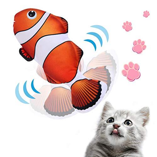 NINECY Katzenspielzeug Fisch Elektrisch, Katzen Spielzeug Zappelnder Fisch mit Katzenminze, Interaktive Spielzeug USB Wiederaufladbar Simulation Plüsch Fisch Kauen Spielzeug für Katzen/Kitty