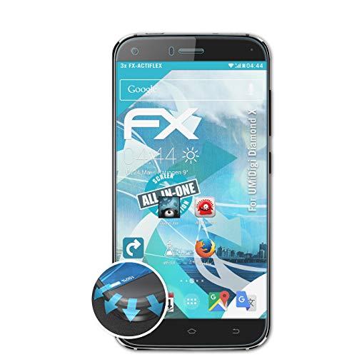 atFolix Schutzfolie kompatibel mit UMiDigi Diamond X Folie, ultraklare & Flexible FX Bildschirmschutzfolie (3X)