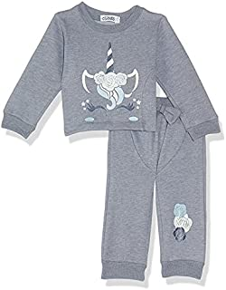 Giggles Printed Round-Neck Long-Sleeves Top with Elastic-Waist Front-Tie Pants Pajama Set for Girls