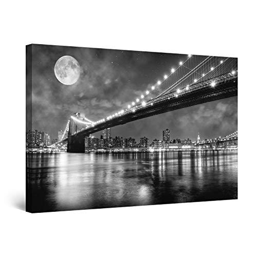 Startonight Cuadro sobre Lienzo en Blanco y Negro Puente de Brooklyn, Impresion en Calidad Fotografica Enmarcado y Listo para Colgar Diseño Moderno Decoración Formato Grande 80 x 120 CM