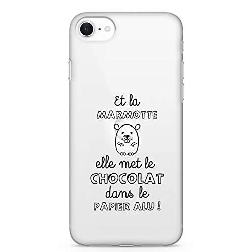 ZOKKO - Carcasa para iPhone Se La Marmotte Elle Pone el Chocolate en Papel de Aluminio – Flexible Transparente Tinta Blanca