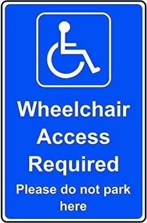 Toegankelijk voor rolstoelen vereist gelieve hier niet te parkeren Veiligheidsbord Stickers, Waarschuwing Stickers Labels, Zelfklevende Vinyl,Veiligheidswaarschuwing tekenen Decals, 30X20CM