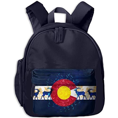 XCNGG Kids Backpack 3D Colorado Flag Nature Scenery Kindergarten Preschool Pocket Bags Rucksack Casual Daypack for Children Toddler Girls Boys Pink
