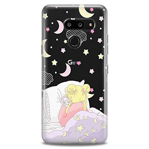 Cavka TPU Case Replacement for LG G8 ThinkQ G7 Fit G6 V60 5G V50 V40 V35 V30 Plus W30 Slim fit Moon Women Aesthetic Flexible Silicone Print Cute Elegant Girls Design Tenderness Cute Soft Clear Dreamy