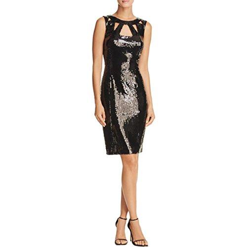 Eliza J Women's Sequin Sheath Dress with Cutouts, Black, 10