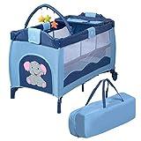COSTWAY 3 in 1 klappbares Reisebett & Wickeltisch & Laufstall, Babybett bis 14kg belastbar, Kinderreisebett rollbar, inkl. Spielbogen, Wickelauflage und Tragetasche (Blau)