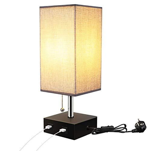 Lightess Tischlampe E27 Modern Retro Nachttischlampe mit USB AnschlussTischleuchte Vintage für Schlafzimmer Schreibtischlampe Stoff Nachttisch-Leuchte Nachtlicht f. Tisch Kinderzimmer mit EU Stecker