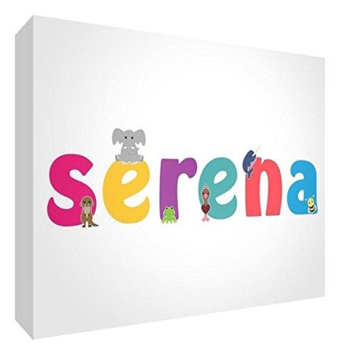 Little Helper LHV-SERENA-A5BLK-15IT Pannello Decorativo Neonato/Battesimo Idea Regalo, Disegno Personalizzabile con Nome da Ragazza Serena, Multicolore, 14.8 x 21 x 2 cm
