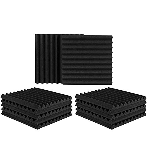 "12 Pack Set Acoustic Panels, 2"" X 12"" X 12"" Acoustic Foam Panels, Studio Wedge Tiles, Sound Panels wedges Soundproof Sound Insulation Absorbing"
