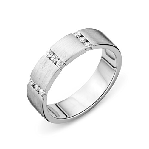 MIORE-Collana da Donna in Argento Sterling 925 con zirconi, per Matrimonio a Fascia, Effetto Spazzolato, Misura: L