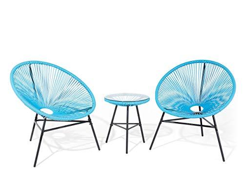 Beliani - Set 2 Fauteuils Spaghetti et Table - Acapulco - en Rotin PE et Acier, Bleu et Noir