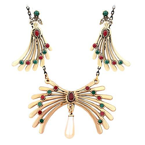 Yddxy Collar de Mujer Pendiente Chapado en Resina con Incrustaciones de Oro Circón Colgante Conjunto de joyería de aleación de Moda (Pendiente + Collar)