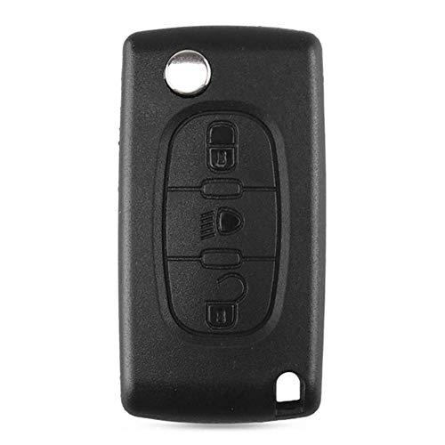 Febelle Carcasa para llave de coche con 3 botones sin hoja funda para mando a distancia del coche compatible Citroen Número de botones CE0536 HU83