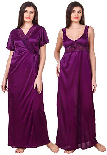 Fasense Women Satin Nightwear 2 Pc Set of Nighty &...