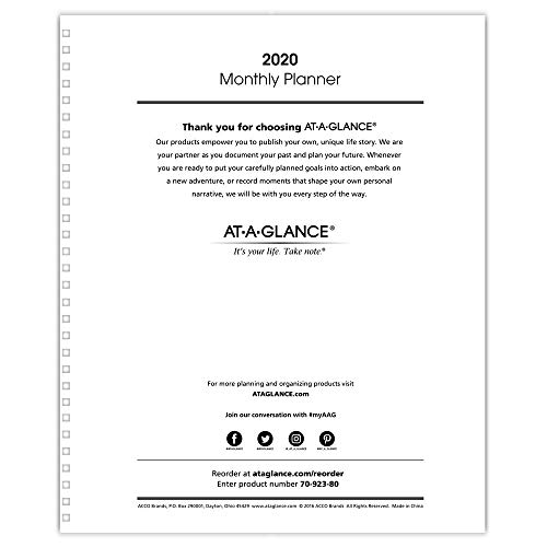 """AT-A-GLANCE 2020 Monthly Planner Refill, for Planners 70-236 or 70-296, 9"""" x 11"""", Large, White (7092380)"""