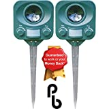 Pestbye Twinpack Solar Waterproof Cat Repellent - Quick Fix Ultrasonic Repeller Cat Scarer with Ground Stake