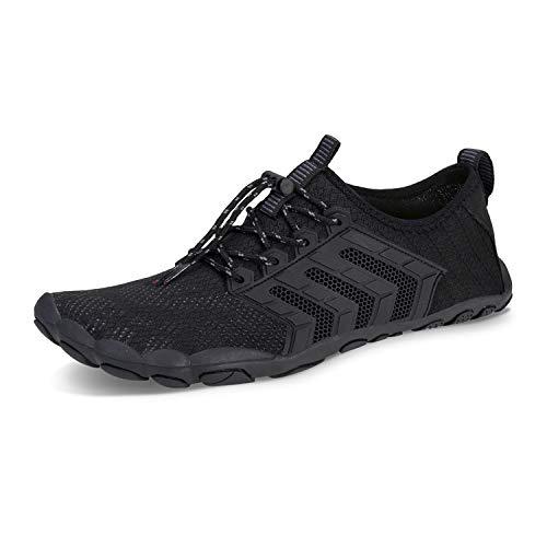 Herren Damen Outdoor Fitnessschuhe Barfußschuhe Trekking Schuhe Badeschuhe Schnell Trocknend rutschfest(Schwarz,39)