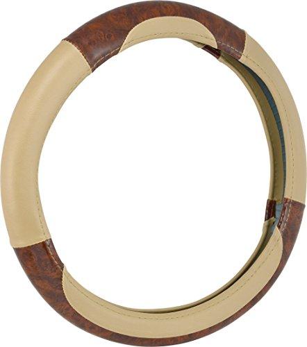 Bell Automotive 22-1-97006-9 Universal Deluxe Burl Wood Hyper-Flex Core Steering Wheel Cover, Tan