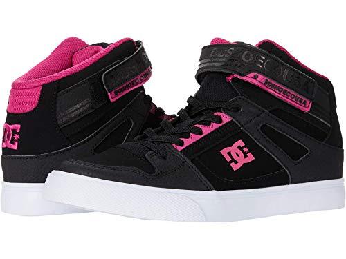 DC Girls Pure HIGH-TOP EV Youth Skate Shoe, Black/Pink/Black, 2 Big Kid