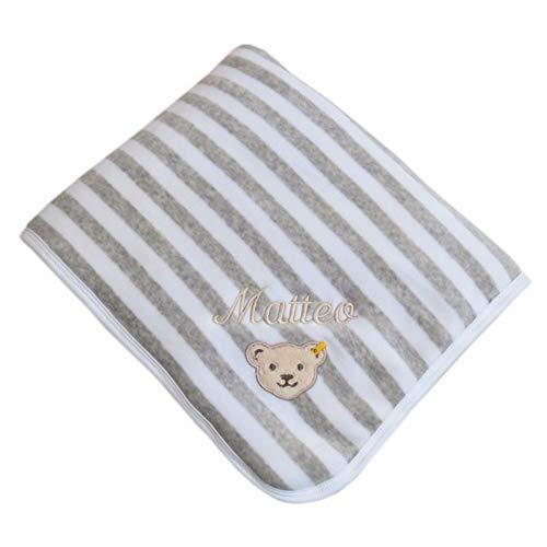 Babydecke mit Ihrem Wunsch-Namen bestickt grau/weiß 90 x 60 cm Steiff Collection 2890