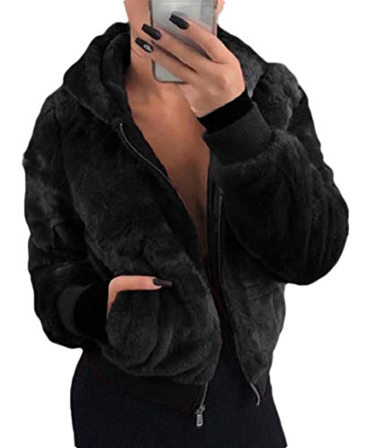 SOWTKSL Damen Fashion Langarm Revers-Reißverschluss Shaggy Oversize Jacke Gr. Medium, Schwarz
