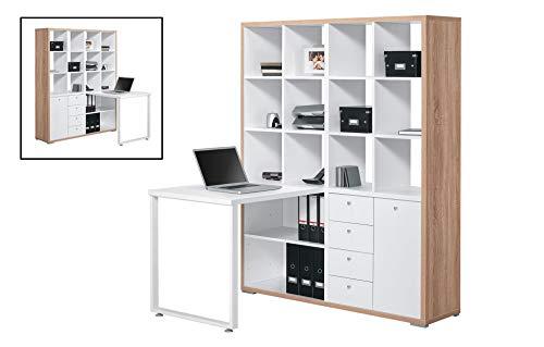 MAJA Möbel Minioffice, Holzdekor, Sonoma-eiche - Icy-weiß, 140,00 x 134,00 x 180,00 cm