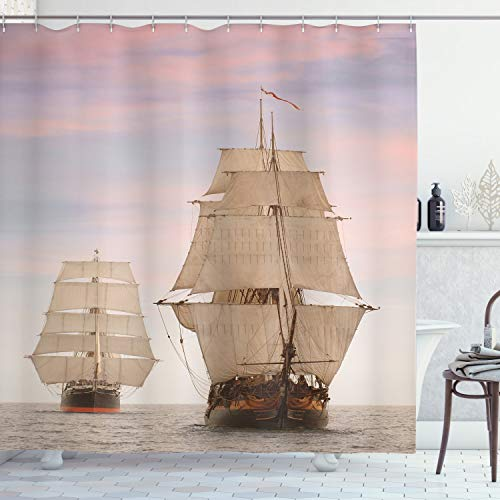 "Ambesonne Ocean Shower Curtain, Sailboat Gaff Top Sail Tall Wooden Sailing Ships Waves Print Photo, Cloth Fabric Bathroom Decor Set with Hooks, 75"" Long, Cream Blue"