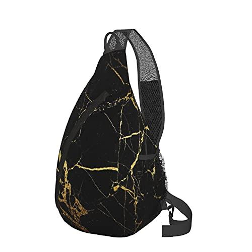 Mochila bandolera de mármol negro dorado para el pecho de la bandeja, ligera, mochila de viaje, bolsa de mensajero para senderismo, camping