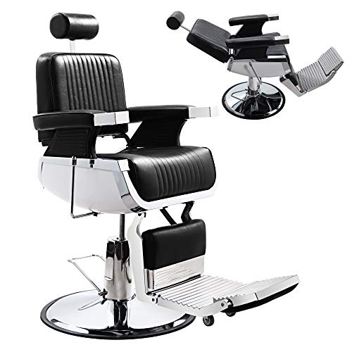 JAXPETY Vintage Hydraulic Reclining Barber Chair, All Purpose Heavy Duty Salon Equipment for Spa Beauty Salon Styling Barbershop Shampoo Tattoo Chair, w/Foot Rest and Round Base, Black