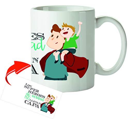 Kembilove Tazas de Desayuno Originales para Padres – Taza con Mensaje Los Super Héroes de Verdad no Llevan Capa – Taza de Desayuno para Regalar el día del Padre – Tazas de Café para Padres y A