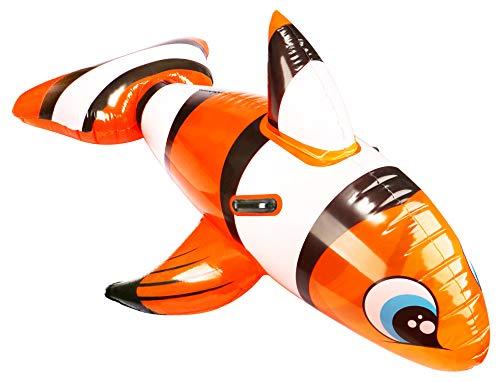 com-four® Aufblasbare Schwimmfigur - Schwimmtier mit Clownfisch Motiv für Kinder (1 Stück - Clownfisch)