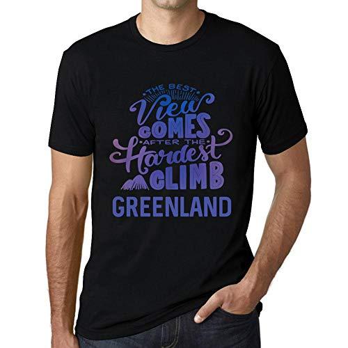 Cityone Uomo Maglietta Tee Vintage T Shirt Best Views Mountains Greenland Profondo Nero
