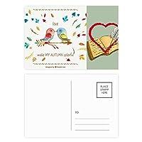 秋の色鮮やかな鳥 ハガキカード祝福日記バレンタインカード20枚