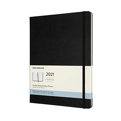 Moleskine - Agenda Mensile 2021, Planner Mensile 12 Mesi, Monthly Notebook con Copertina Rigida, Formato XL 19 x 25 cm, Colore Nero, 128 Pagine