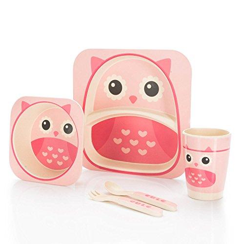 all Kids United Kindergeschirr-Set aus Bambus-Geschirr für Kinder Kindergeschirrset aus Bambus Set 5-teilig; Eule
