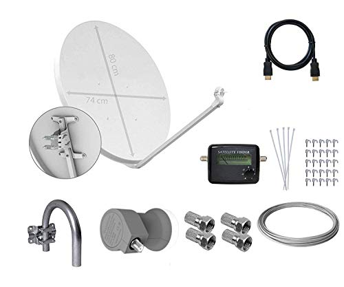 Tecatel E80C1LSCCK1-37 - Kit parabólica de 80 cm (Soporte, LNB Universal, Cable, Conectores,...