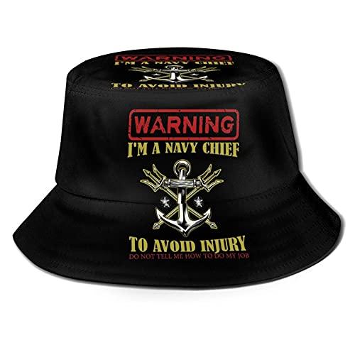 DJNGN Avertissement! Je suis Un Chef de la Marine pour éviter Les blessures Dites-Moi Comment Faire Mon Travail Chapeau de Seau Chapeau de Soleil Unisexe Chapeaux de pêcheur Pliables d'été