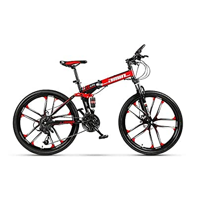 DOMDIL Folding Mountain Bike 26in 24 Speed 10-Spoke Adults Bicycle (Ship from US) Full Suspension Road Bikes with Disc Brakes for Adult Teens MTB Bikes,Black Red