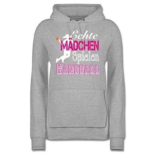 Handball - Echte Mädchen Spielen Handball weiß - S - Grau meliert - Kinder Klamotten - JH001F - Damen Hoodie und Kapuzenpullover für Frauen