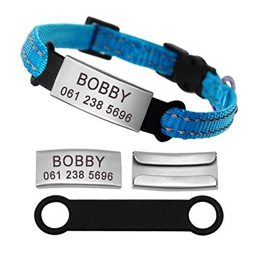 Didog Reflektierendes Hundehalsband mit Namensschild aus Edelstahl – kein Lärm verschiebbare Gravur ID Tag für Kätzchen, Katzen und kleine Hunde