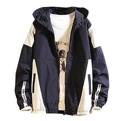SOMESHINE Men's Front-Zip Jacket Pullover Hooded Waterproof Lightweight Windbreaker Jackets Wind&Water-Resistant Rain Jacket(Navy,3XL)