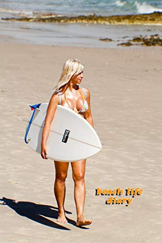 beach life dairy DOT GRID STYLE NOTEBOOK: 6x9 inch daily journal notes on dot grid design creamy colored pages with beautiful bikini girl with surf board walking at the beach cover