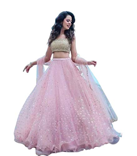 Drashti villa Women's Net Semi-Stitched Lehenga Choli (pink2)