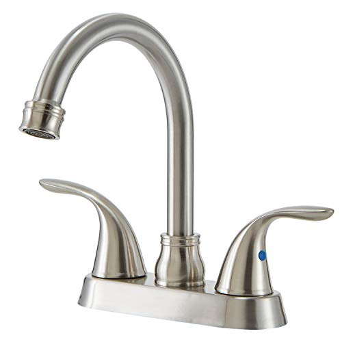 SHACO 4 Inch 2 Handle Centerset Brushed Nickel Bathroom Sink Faucet,360 Degree Swivel Spout Lead-free Stainless Steel Bathroom Lavatory Vanity Faucet Set Illinois