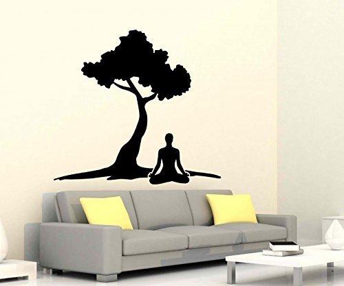 Wandtattoo Reiki Yoga Übung Baum Energie Sport Körper Sticker Auto Om Zeichen Buddha Asien Wand Aufkleber 5B269, Farbe:Dunkelgrau Matt;Hohe:65cm