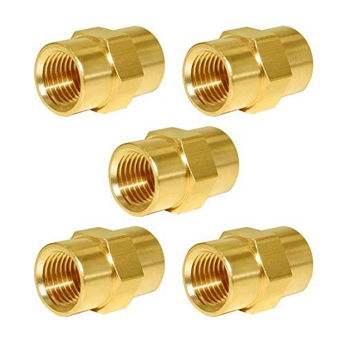 Joywayus Brass Pipe Fitting, Hex Nipple 1/4