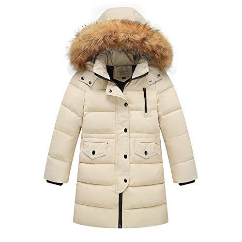Daunenjacke Kinder Winterjacke Jungen Wintermantel Mädchen Daunenmantel mit Kaputze Warm Outdoorjacke Weiß 160