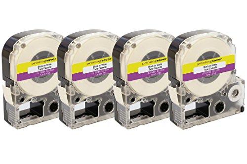 4 Rollen LC-4WBN SS12KW 12mm x 8m Schwarz auf Weiß Schriftband kompatibel für Epson LabelWorks LW-300 LW-300L LW-400 LW-500 LW-600P LW-700 LW-900P LW-1000P