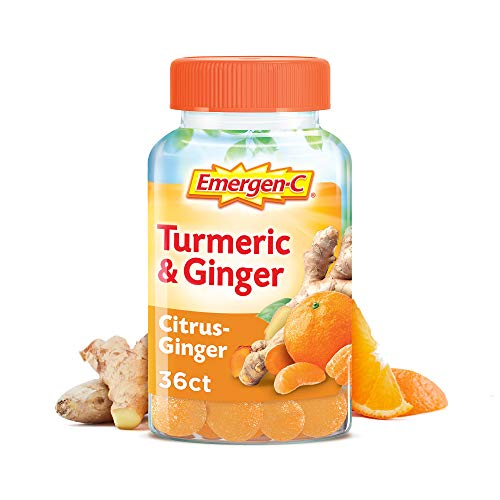 Emergen-C Citrus-Ginger Gummies, Turmeric and Ginger, Immune Support Natural Flavors with High Potency Vitamin C, 36 Count